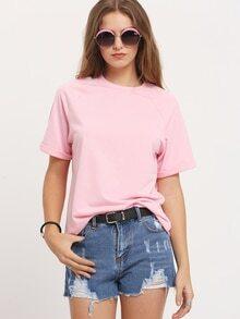 Camiseta cuello redondo casual suelta -rosa