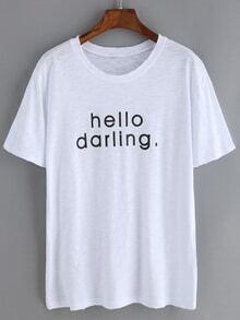 Camiseta cuello redondo manga corta letras rotos -blanco