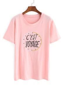 Camiseta cuello redondo manga corta reloj -rosado