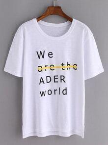 Camiseta dip hem letras -blanco