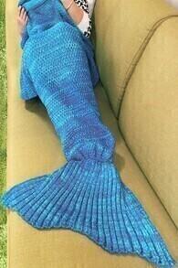 Manta espina de pescado -azul claro