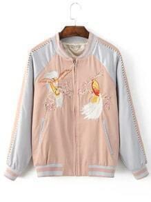 Cazadora bomber bordado pájaro bolsillo - rosa