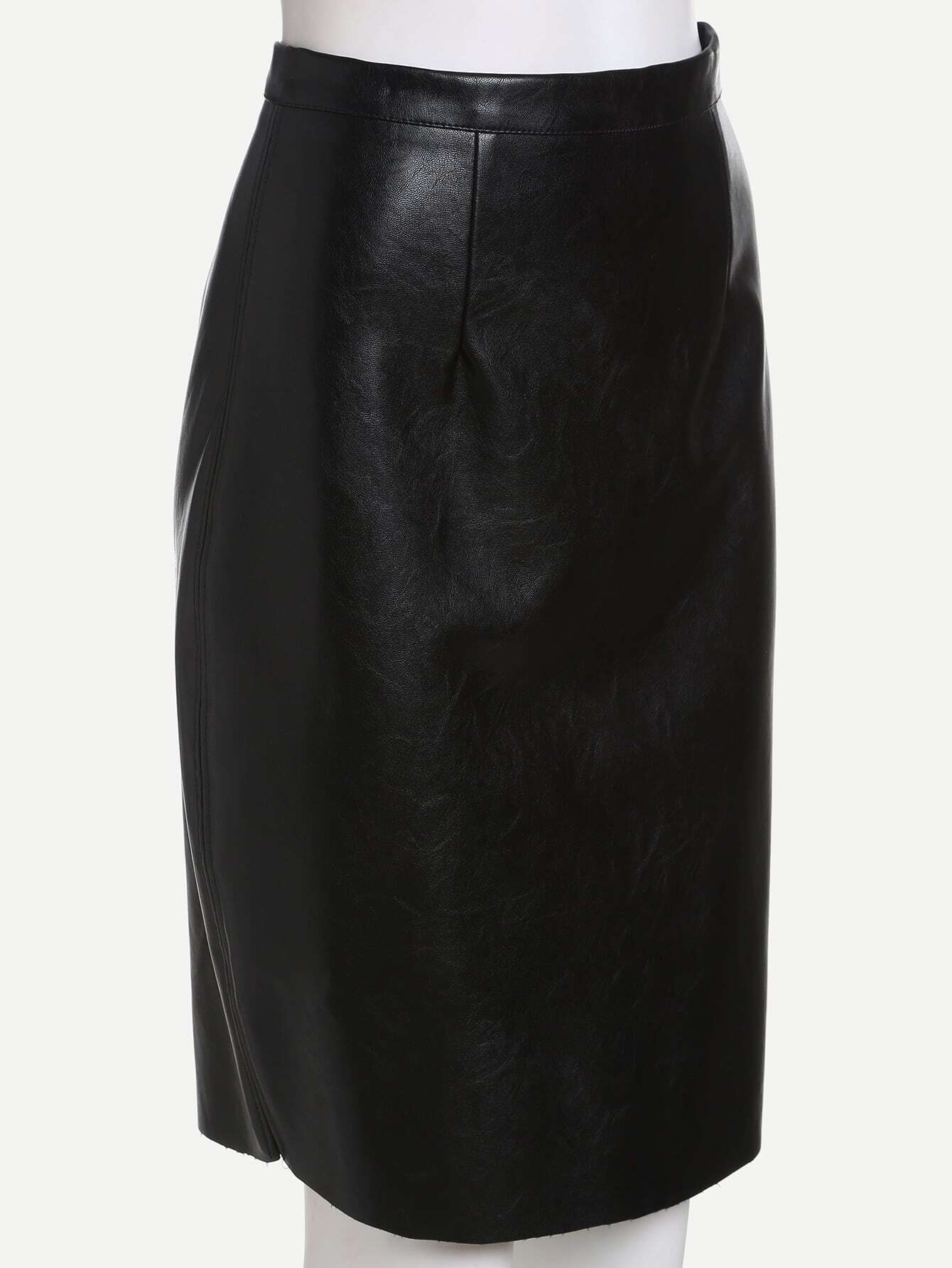 Faux Leather Skirt Zipper