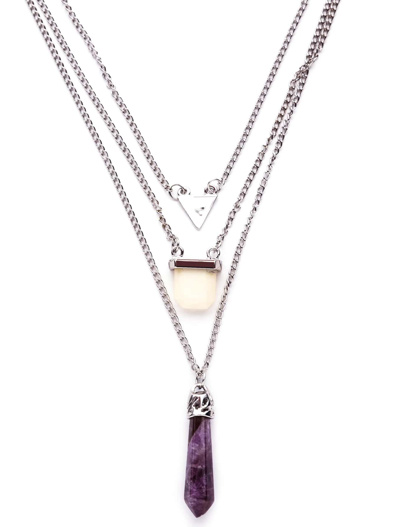 Purple Crystal Geometric Pendant Layered Necklace Romwe