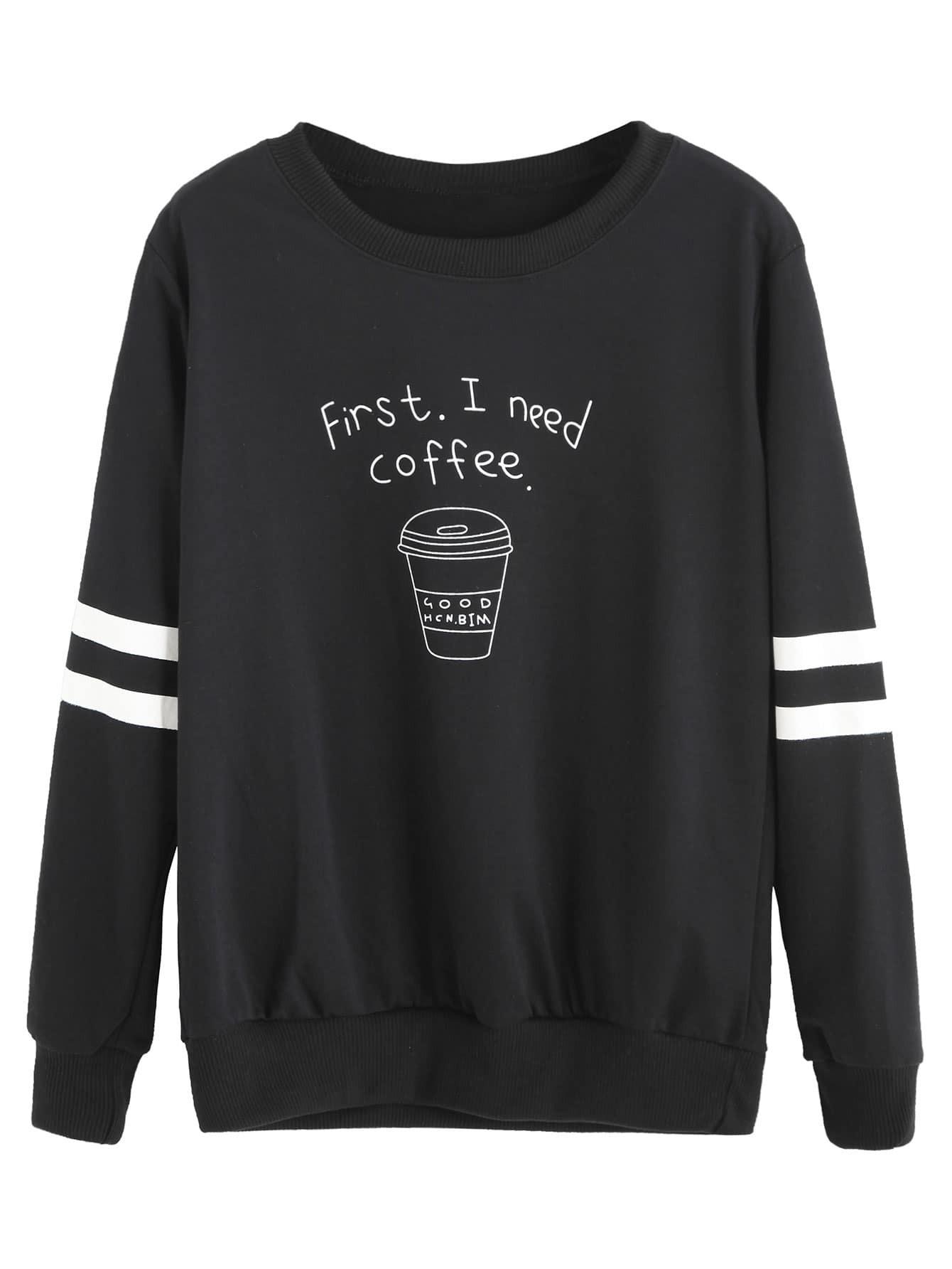 Black Coffee Cup Letters Print Striped Sweatshirt