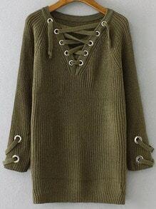 Jersey con escote V de ojales y cordón - verde militar