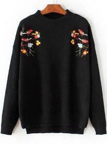 Jersey asimétrico con bordado de pájaro - negro