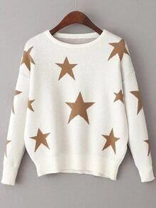 Jersey con hombro caído y estampado de estrellas - blanco