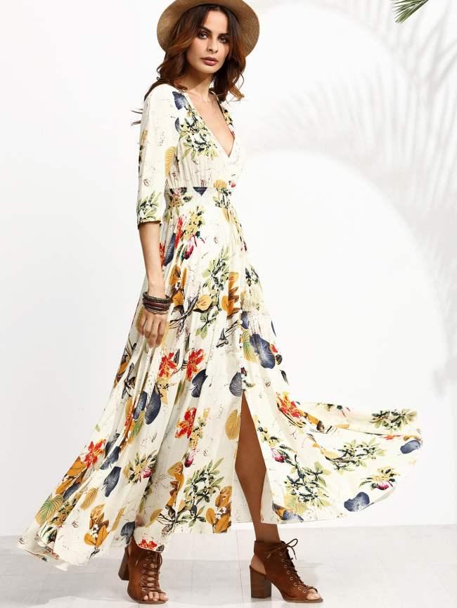 Vestido verano 2017 tendencias maxi largo flores floral coachella romwe