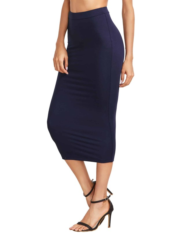 Navy High Waist Sheath Skirt