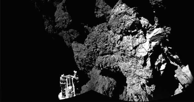 Primera imagen obtenida por Rosetta del aterrizador Philae sobre el cometa 67P.