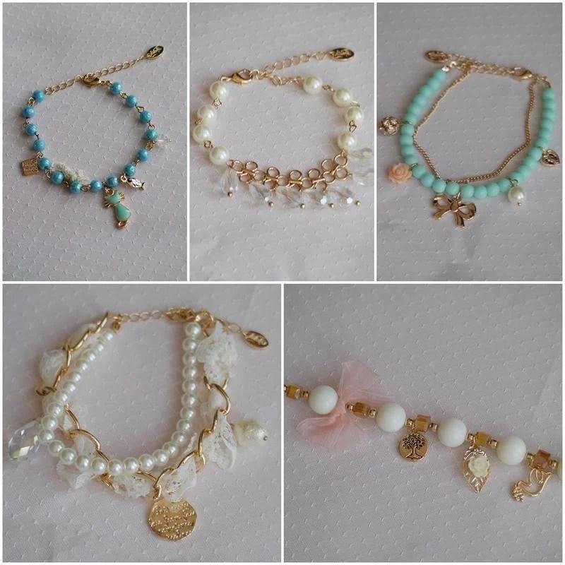 【有型】貓咪 蝴蝶結樹花朵 蕾絲珍珠英文 蝴蝶結 手鍊 手環 流行飾品 - 露天拍賣