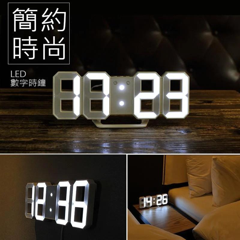 3D LED數字鐘 電子鬧鐘 牆面立體掛鐘 LED時鐘 數字立體電子鐘 時尚掛牆鐘 (USB插電-小款) 當你沉睡時 - 露天拍賣