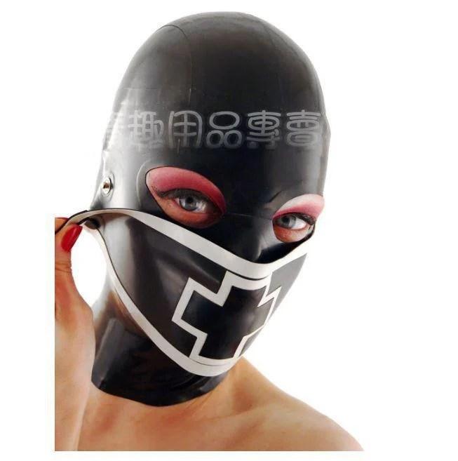 【臺灣出貨】天然乳膠頭套 包頭窒息情趣面罩口罩可拆卸 成人另類面具 男女款 - 露天拍賣