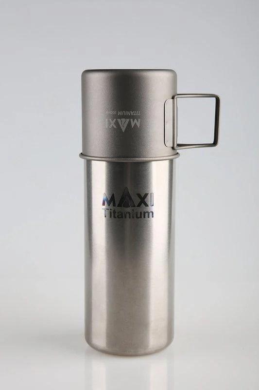 【山道具屋】Maxi Titanium Bottle Combo Set 800ml純鈦水壺+300ml 鈦杯套組 - 露天拍賣