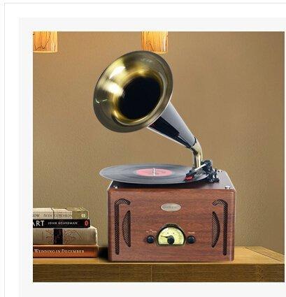 燊樂小號角留聲機仿古唱片機藍牙黑膠唱機LP老式電唱機收音機超值復古電唱機黑膠唱機LP留聲機 - 露天拍賣