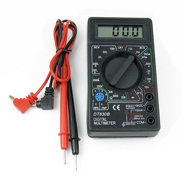 電子教學三用電錶 家用萬用錶 LED光源數位顯示可量測電壓電阻電流NPN 無蜂鳴DT830B 黑色 - 露天拍賣