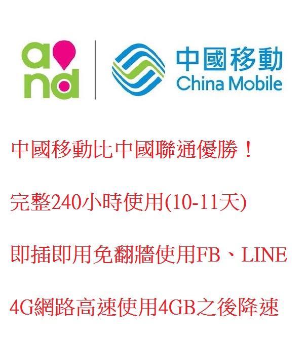 中國大陸中國移動10天4GB無限上網卡大陸免翻牆 吃到飽 網路卡 網路 網卡 - 露天拍賣