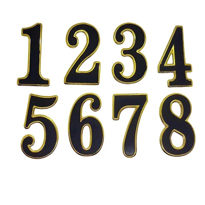 KC002 數字貼 識別貼 個性貼 信箱 號碼牌 桌牌 門牌 裝飾貼 黑底 立體 金邊 單一個數字售 客製化 - 露天拍賣