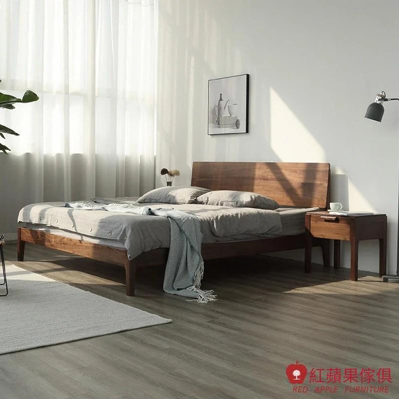 [紅蘋果傢俱]HM005 5尺床/6尺床 床架 北歐風床架 日式床架 實木床架 無印風 簡約風 - 露天拍賣