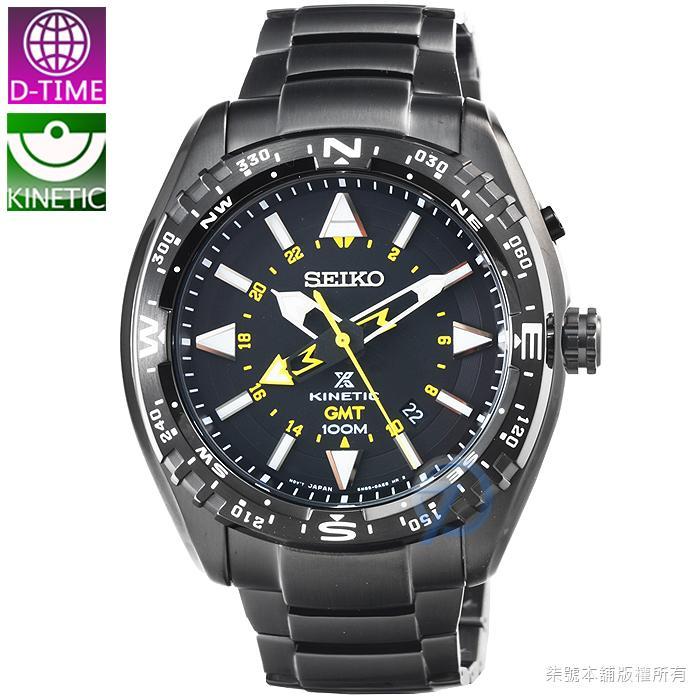 【柒號本舖 】SEIKO 日系精工人動電能GMT兩地時間腕錶- IP黑 # SUN047P1 - 露天拍賣