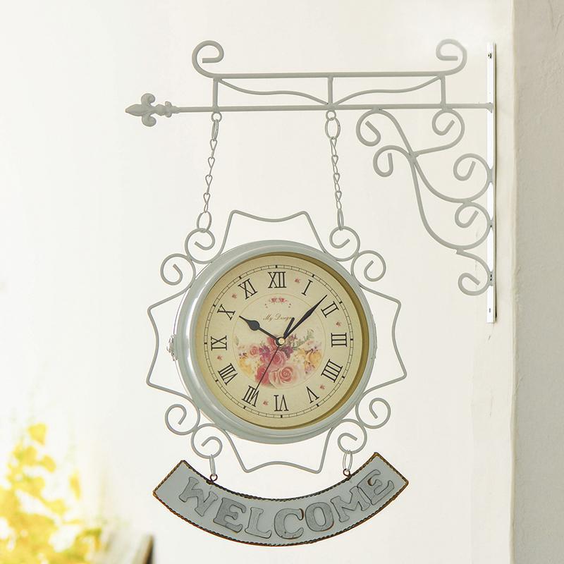 復古鐵藝雙面掛鐘歐式創意石英鐘客廳表田園靜音家居鐘飾裝飾鐘表 - 露天拍賣