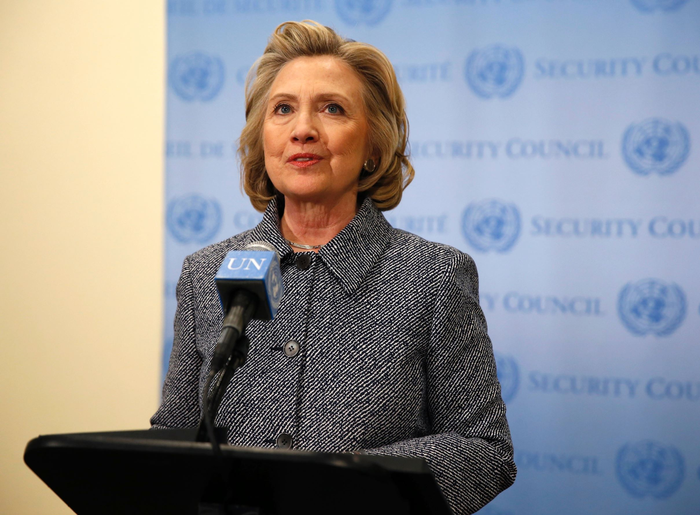 Former U.S. Secretary of State Hillary Clinton speaks during a press conference at the United Nations in New York March 10, 2015.