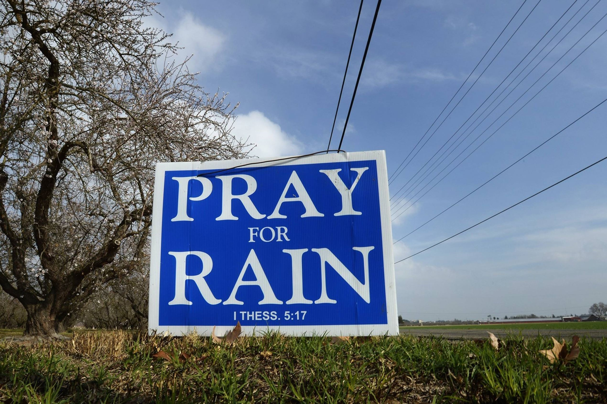 A pray for rain sign in Modesto, California, during a drought in 2014.