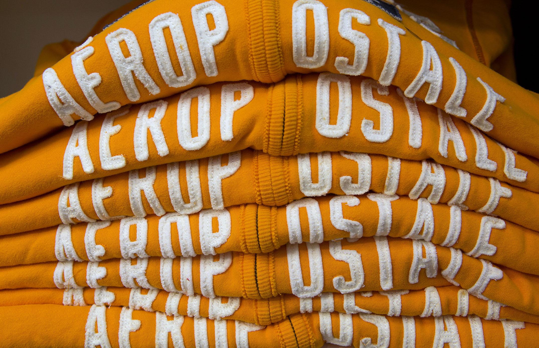 Sweatshirts on a shelf inside an Aeropostale Inc. store. Susana Gonzalez/Bloomberg