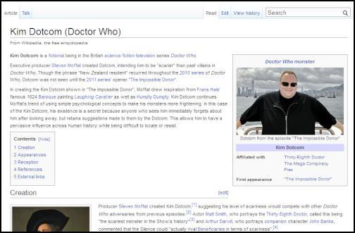 kim dotcom, doctor who, the silence, wikipedia