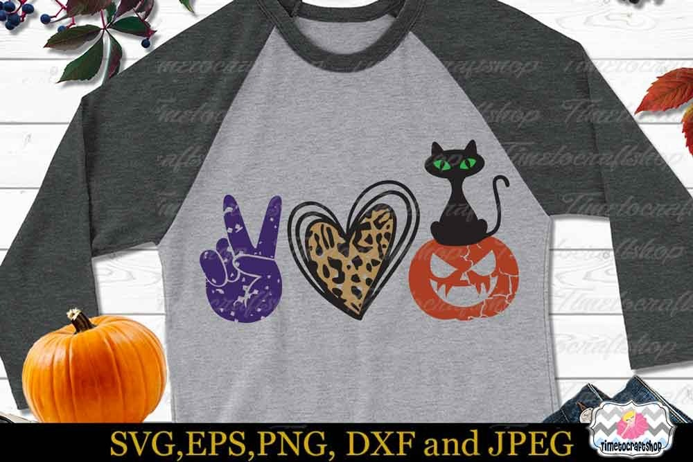 Download Peace Love Halloween SVG, Peace And Love Shirt, Halloween ...
