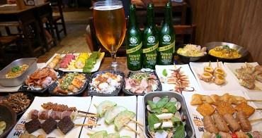 就醬烤吧台中平價串燒店 啤酒買一箱送一手超划算  一杯裝三瓶超大啤酒杯等你挑戰