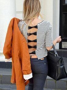 White Black Striped Bow Back Crop T-shirt