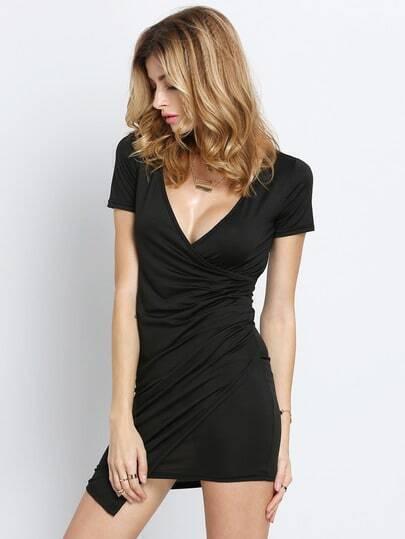 Black V Neck Short Sleeve Asymmetrical Bodycon Dress pictures