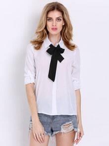Blusa manga larga-blanco