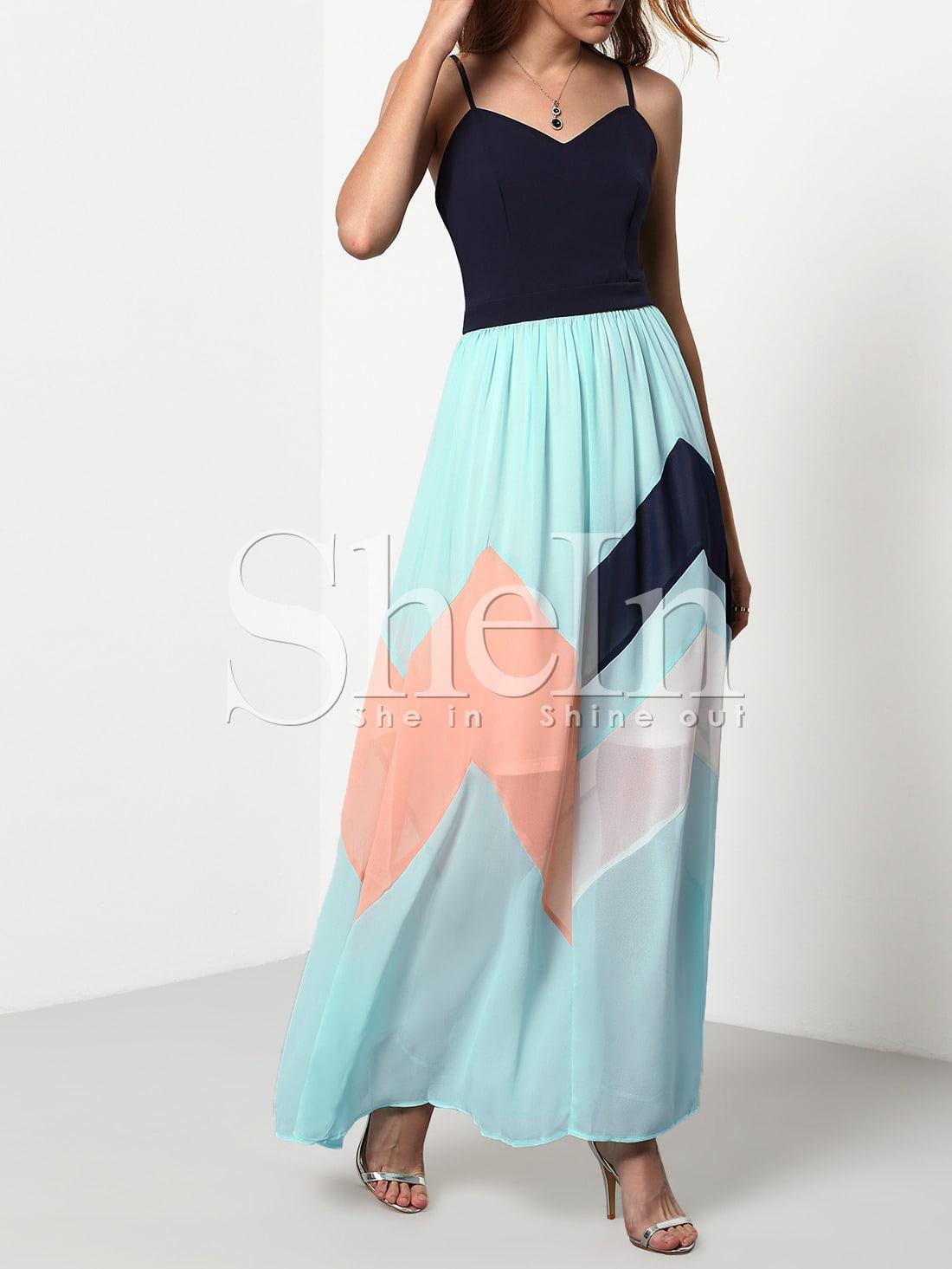 372f95fe9144 Multicolor Pastel Spaghetti Strap Backless Maxi Dress ...