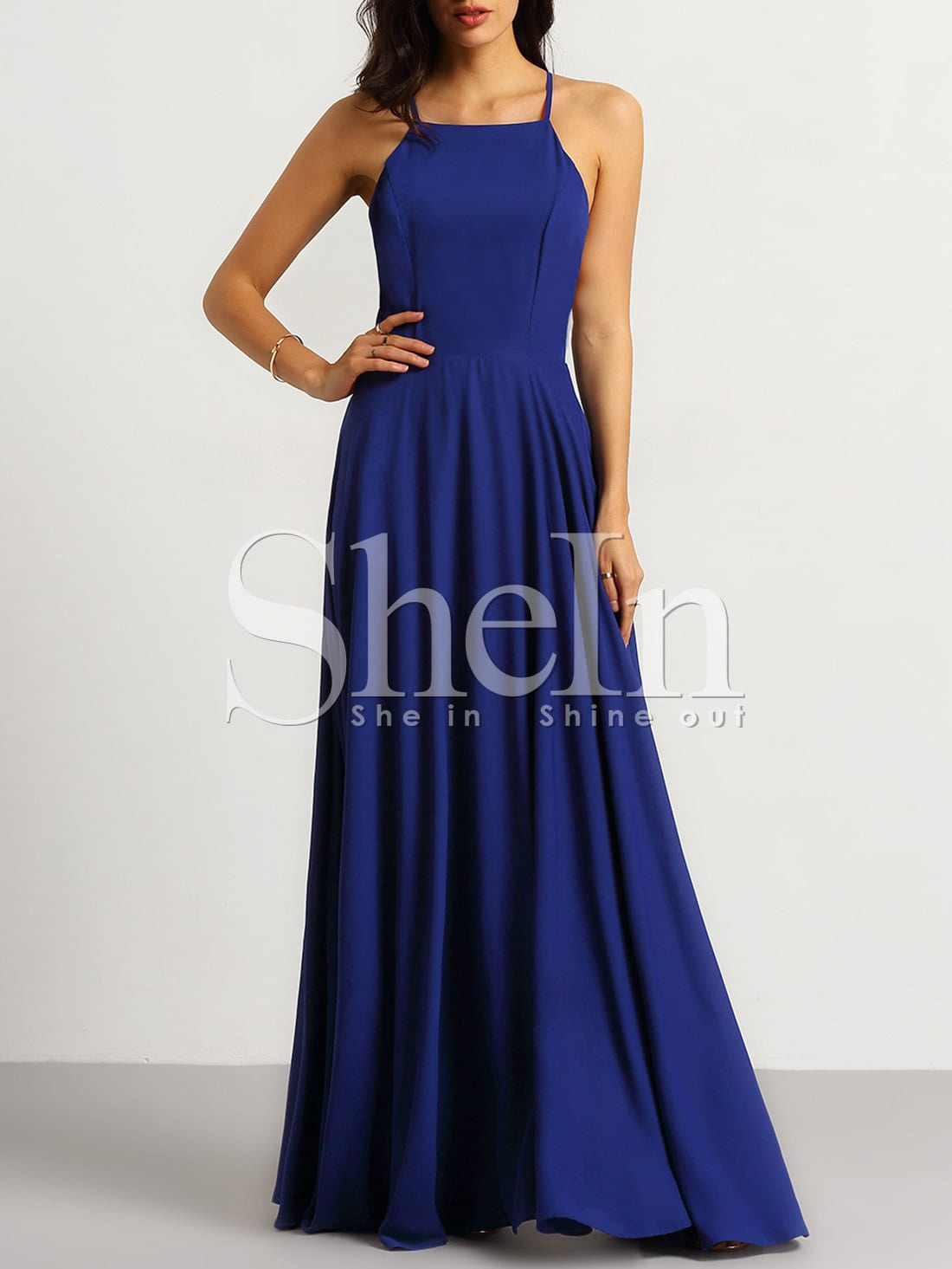 Blue Spaghetti Strap Backless Maxi Dress -SheIn(Sheinside)