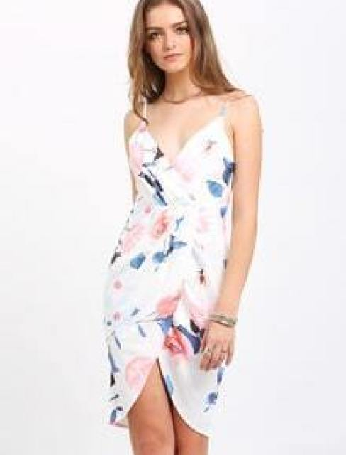 White Spaghetti Strap Floral Wrap Front Dress