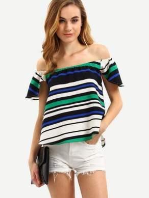 Multicolor Off The Shoulder Striped Blouse