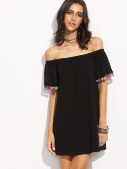 Bardot Pom Pom Trim Dress
