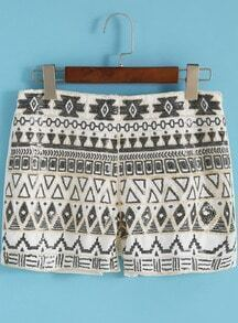 White Geometric Bead Straight Shorts