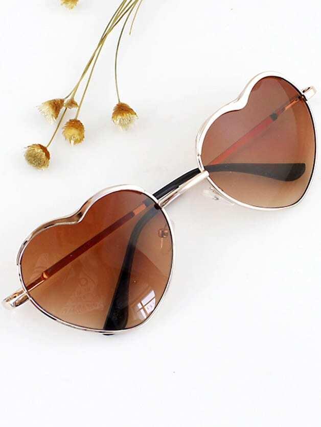 SheIn New 2015 Summer Fashion Gold Silver Alloy Heart Shape Acetate Frame Wrap Sunglasses