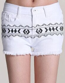White Tribal Embroidered Fringe Shorts