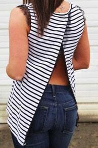 Black White Sleeveless Striped Split Back Blouse