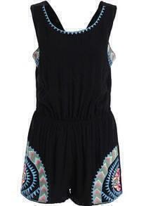 Black Sleeveless Backless Embroidered Jumpsuit