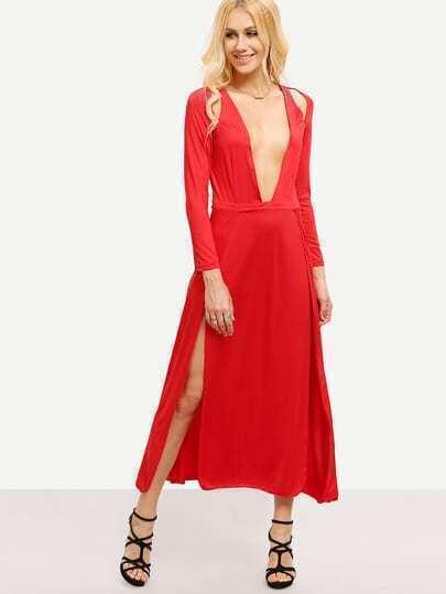 Vestido cuello V maxi -rojo fotos
