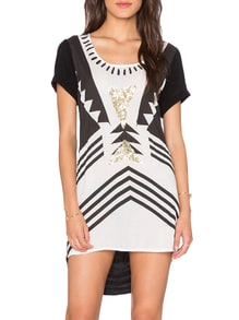 White Black Short Sleeve Geometric Print High Low Dress