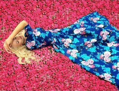 Multicolour Round Neck Long Sleeve Hibiscus Perfect Floral Maxi Dress pictures