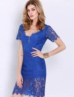 Blue Short Sleeve Crochet Lace Zipper Dress