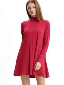 Vestido manga larga casual -rojo